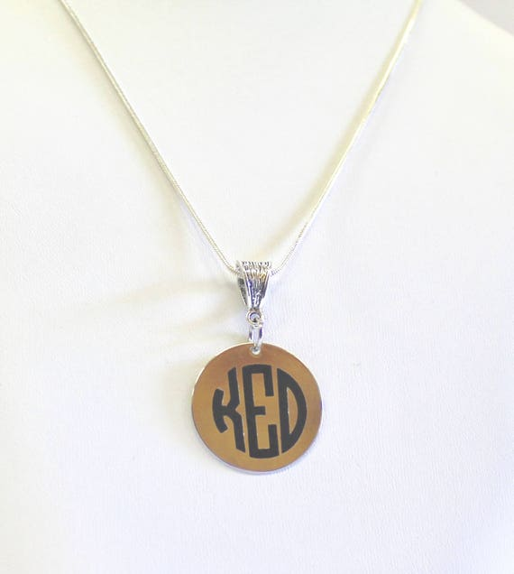 Personalized Monogrammed Pendant on Silver Necklace, Wife Jewelry Gift For Her, Monogrammed Necklace Graduation Gift For Daughter