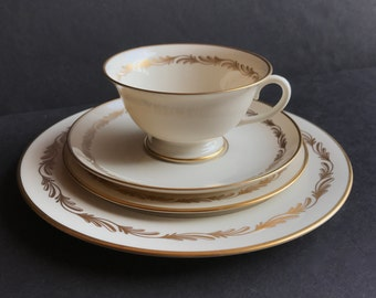 1940s Franciscan Arcadia Gold. Set of 48 Includes Salad Plates, Bread & Butter Plates, Teacups, Saucers. Setting for 12. No Dinner Plates.