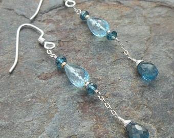 Blue Topaz, London Blue Topaz with Sterling Silver Dangle Earrings