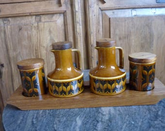 Vintage Salt, Pepper, Oil and Vinegar set with teak tray. Five piece condiment set. Hornsea heirloom.