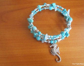 Memory Bracelet, seahorse charms, turquoise beads handmade