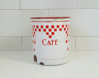 French coffee container - French cafe container - French cafe - coffee jar - vintage coffee - vintage French enamelware - blue enamelware