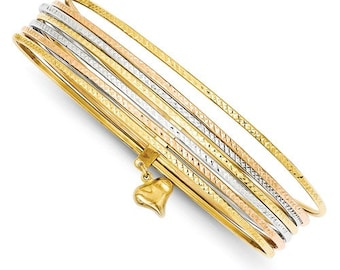 14K Yellow Gold 14K White Gold 14K Rose Gold Tri Color 7 Piece Slip On Hollow Layer Stack Bangle Bracelet Heart Charm Size 8 inches CKLDB536