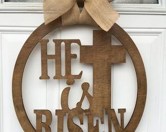 He is risen, easter door hanger, religious door hanger, easter door decor, easter, religious decor