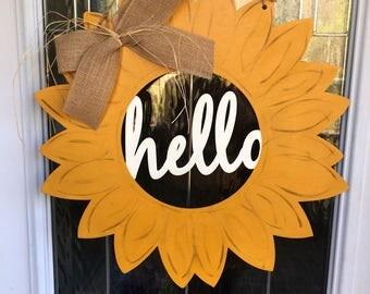 Hello sunflower door hanger, sunflower door hanger, door decor, door hanger, summer door hanger, sunflower decor, sunflowers, summer