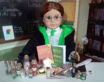 "Harry Potter School Supplies for 18"" Dolls Like American Girl Doll Accessories Wand Textbooks Fantastic Beasts Ilvermony Hogwarts"