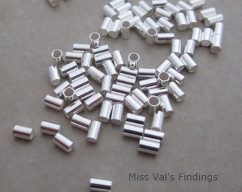 24 sterling silver crimp beads 3mm x 2mm