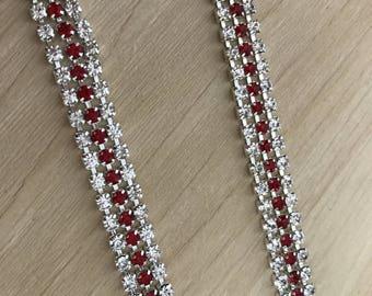 Clear Beaded Chain Trim, Wedding Rhinestones Applique, Rhinestones Trim For Dress,Sash,Bridal Applique