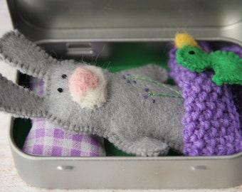 Bunny Rabbit Plush in TIN Box, Church Toy, Pocket Worry Doll, Travel Toy, Quiet Time, Unique Birthday Gift Idea for Preschooler, Party Favor