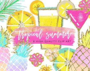 Tropical Clip Art, Watercolor Summer Clipart, Pineapple Summer Clipart, Beach Clipart, Lemon Clipart, Pineapple Clipart, signature drink