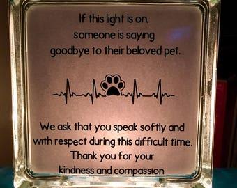 Glass Block - Vet Clinic Pet Memorial Light - Euthanasia Compassion Light