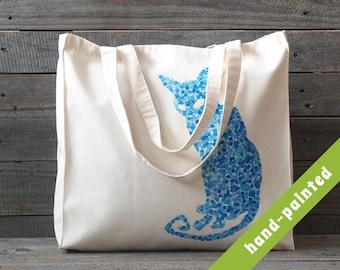 cat tote bag, Cotton tote bag, Eco bag, cat bag, cat tote, hand-painted tote bag, cat, tote bag, cat lover gift,  cat, tote, cat gift