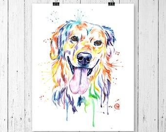 GOLDEN RETRIEVER PRINT, golden retriever painting, golden retriever art, golden retriever watercolour, dog art, pet art, pet portrait