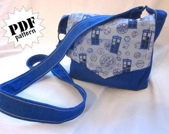 Pattern: Mini messenger-style cross-body bag/purse (digital download)