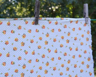 Vintage 40s Feed Sack Fabric White Polka Dot Floral Print 4 Full Pieces Four Yards