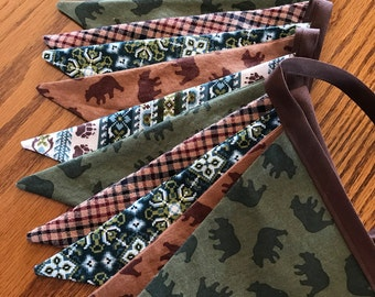 Bear Fabric Bunting Rustic Fabric Banner Boy Photo Prop Plaid Flag Banner Boy's Room Mountain Cabin Decor Ready to Ship