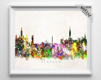 Glasgow Skyline Print, Scotland Poster, Glasgow Wall Art, Cityscape, Watercolor Painting, Giclee Art, Home Decor, Christmas Gift