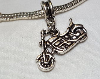 Motorcycle Charm/Spacer-Motorcycle, Motorbike, Harley - Adorable Charm- Fits all Designer and European Charm Bracelets*