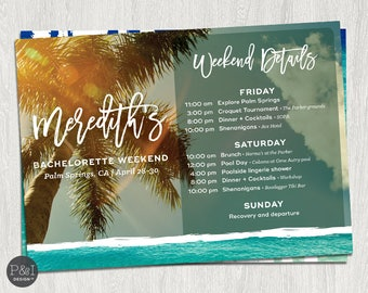 Bachelorette Beach Weekend Itinerary | Printable | DIY | Digital 5x7