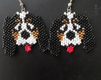 Czech Seed Bead Earrings Beaded Jewelry Beadwork Women Accessory Beaded dangle earrings Spaniel Dog Jewelry Pet Lovers Earrings