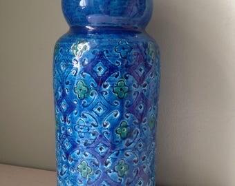 Vintage Home  Mid Century Italian Blue Vase