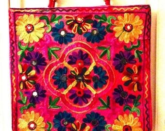 Women handmade handcrafted cotton tote shoulder shopper habdbag bag purse multi-color mirror embroidered floral on pink base mirror work.