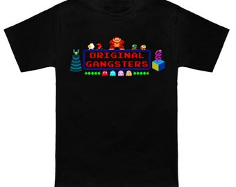 80s Arcade ORIGINAL GANGSTERS 8-Bit T-Shirt 1980s Shirt Donkey Kong Ms Pac-Man Galaga Centipede Burger Time Dig Dug Q*Bert