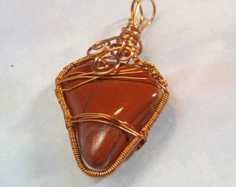 SALE!! Wirewrapped Red Jasper Stone in Copper Wire......OOAK...... by SpikeyRose design