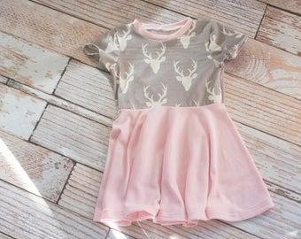 Deer Grey and Pink Toddler Dress