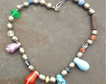 westafrica necklace. silver nd old beads