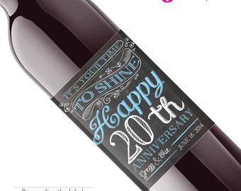 20th anniversary Wedding Wine Labels Wedding, 20th ANNIVERSARY-TWENTIETH Custom Wine Labels, 20th wedding celebration