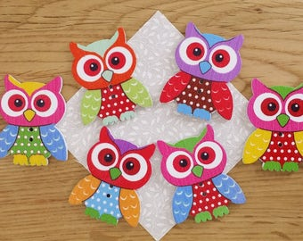 Owl buttons, pack of 10 wooden buttons in bright colours, great for crafts, each one 35mm x 25mm