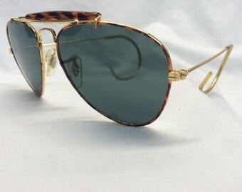 NOS Metal Pilot Aviator Sunglasses Tortoise Gold / Glass Lenses New Old Stock