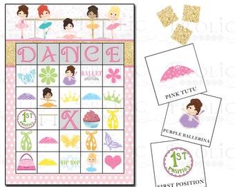 Ballerina Bingo 10 Printable Cards INSTANT DOWNLOAD