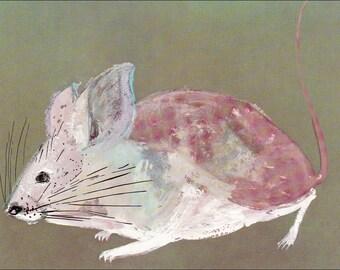m for mouse small animal cute grey gray 60's mid century children's illustration retro nursery decor Brian Wildsmith 7.25x9.75 inches