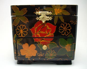 Vintage Floral Lacquer Jewelry Box - Floral Gypsy Boho Decor Storage