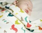Chicken Baby Blanket, Farm Animal Baby Blanket, Unique Newborn Baby Shower Gift, Rustic Modern Colorful, Receiving Blanket, Gifts Under 50
