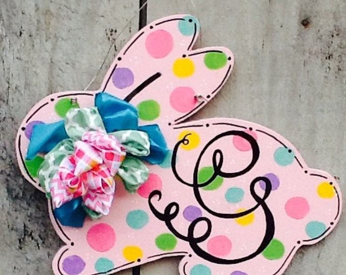 Easter bunny sign, easter sign, easter door hanger, easter bunny door hanger, spring door hanger