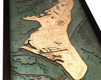 Key Biscayne Wood Carved Topographic Depth Map