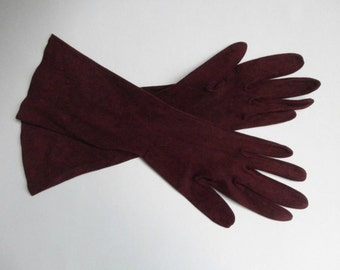 Lovely 60s Suede Vintage Gloves  // Size 6,5  // Made In France