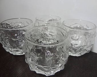 Vintage Anchor Hocking Lido Milano Clear Crinkle Roly Poly Glasses - Set of 4