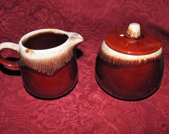 McCoy Brown Drip Glaze Creamer and Covered Sugar Bowl Set (One of Two Listed)
