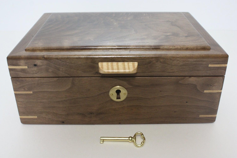 Handmade Locking Black Walnut Wood Box For Sale