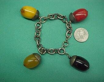Vintage Bakelite Charm Bracelet Acorns Butterscotch Swirl 4 Colors