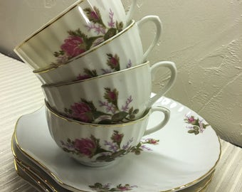 Made in Japan Snack Set Of 4 teacups and plates