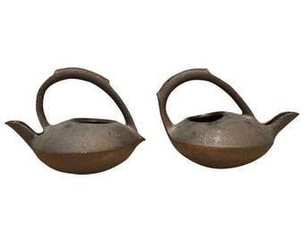 Pair of Contemporary Glazed Ceramic Teapots by Anne Hirondelle