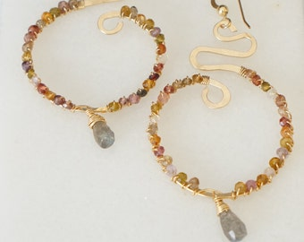 Gold filled hammered with multi-color garnets swirl earrings