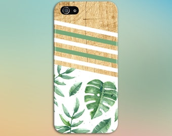 Geometric Palm Tree x White Striped Summer Flowers Phone Case, iPhone 7, iPhone 7 Plus, Tough iPhone Case, Galaxy s8, Samsung CASE ESCAPE