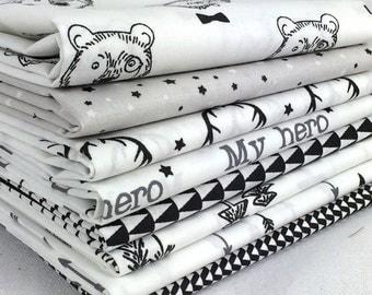 Lot de 8 coupons tissu patchwork Tendance Blanc / Noir 50 x 50 cm
