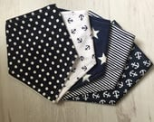 Bubba Bs  Classic Navy 2 x5 Bandana Dribble Bib Bundle  Gorgeous
